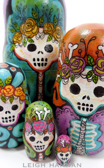 Big Hair Skelly Nesting Dolls